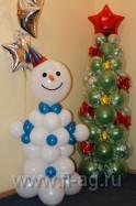 Новогодние фигуры: снеговик из шаров и елка из шаров